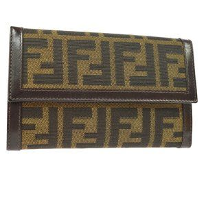 FENDI Zucca Pattern Trifold Wallet Purse Brown Can
